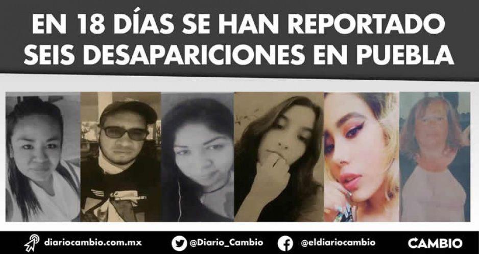 En 18 días se han reportado seis desapariciones en Puebla
