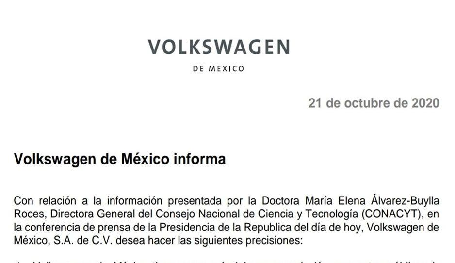 VW niega haber recibido millonadas por parte de Conacyt