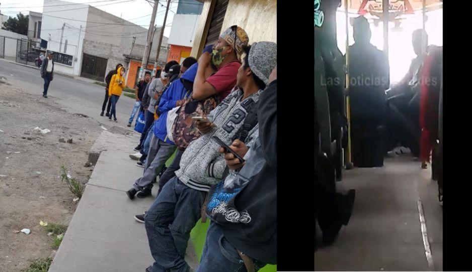 Choferes, cobradores y pasajeros… ya nadie respeta las medidas sanitarias en Puebla (VIDEO)