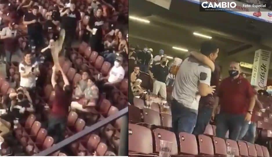 ¿Para eso querían regresar? Aficionado de Tomateros se pone borracho en el estadio y avienta su vaso al aire (VIDEO)