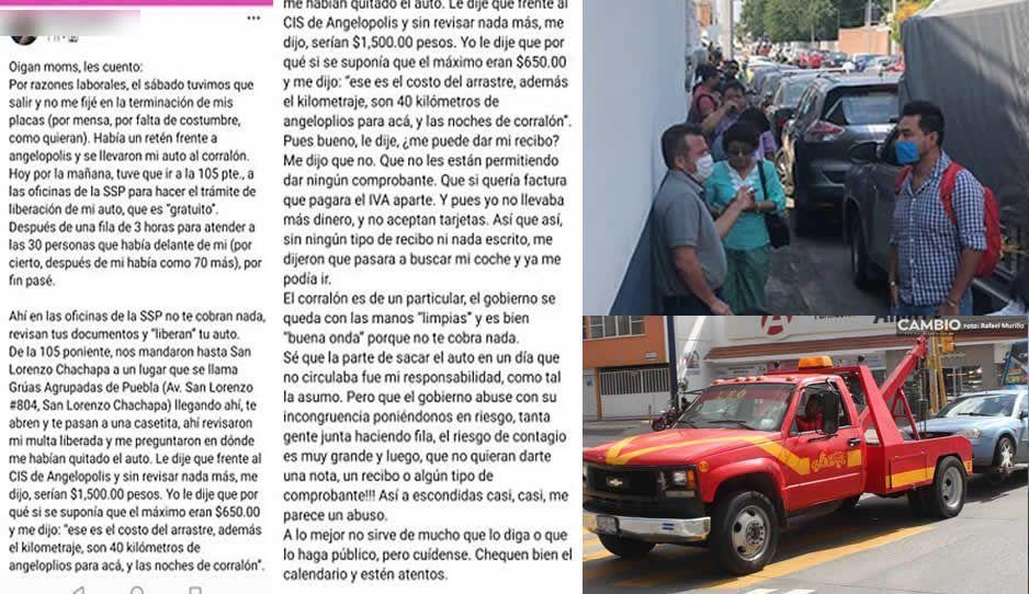 Así narra poblana el drama de rescatar su automóvil por violar el Hoy no Circula: acabó pagando grúa, arrastre y corralón