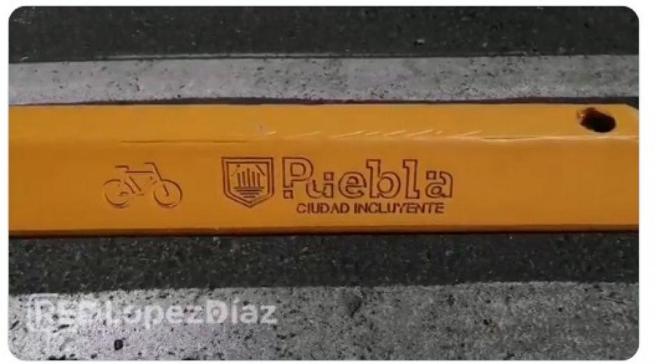 """Ayuntamiento coloca """"Puebla Ciudad Incluyente"""" en separadores de la ciclopista de la 23 Oriente"""