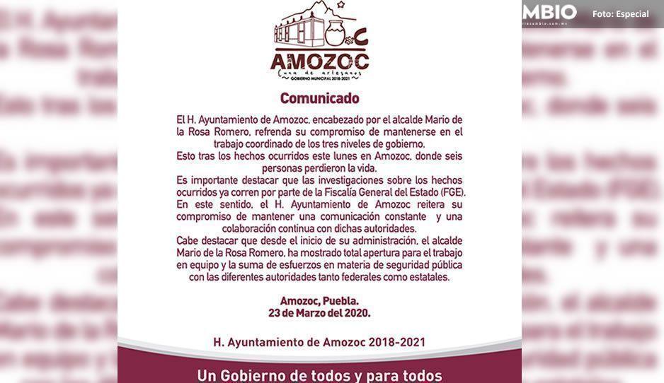 Para esclarecer multihomicidio; Ayuntamiento de Amozoc colabora con autoridades
