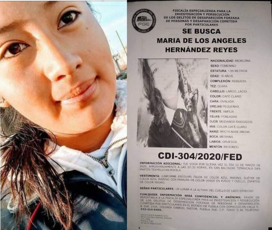 Ayuda a encontrar a María de los Ángeles de 16 años, lleva más de una semana desaparecida