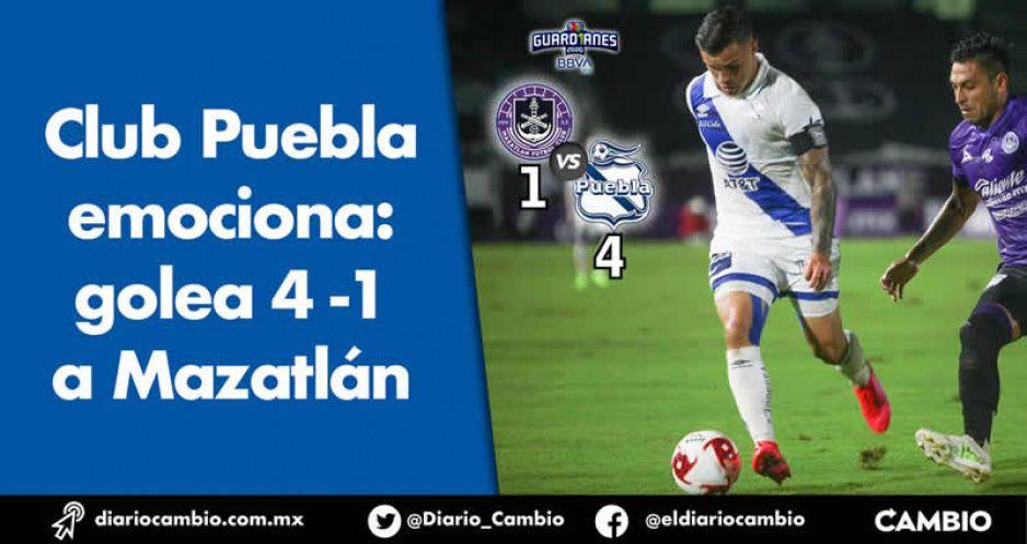 Club Puebla emociona: golea 4-1 a Mazatlán