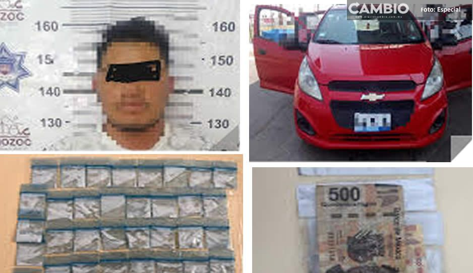 ¡Vaya fichita! Policía de Amozoc detiene a narcomenudista acusado de robo de automóvil