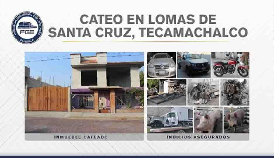 Aseguran vehículos y autopartes robadas en Tecamachalco durante cateo