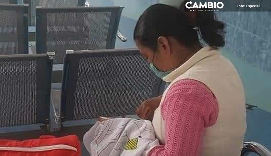 Lupita, la mamá luchona que vende servilletas  bordadas tras operación de su bebé en el HNP