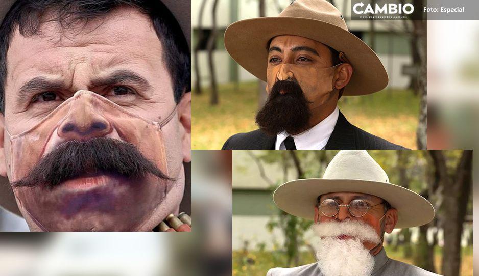 Moda Covid: Usan cubrebocas con barba y bigote en conmemoración de Revolución Mexicana (VIDEO)