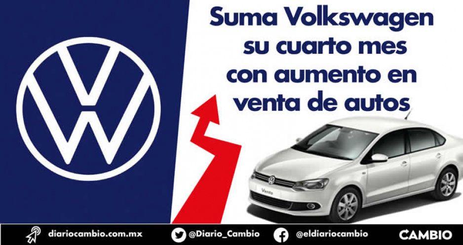 Suma Volkswagen su cuarto mes con aumento en venta de autos