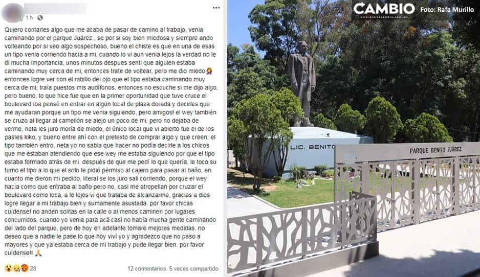 Denuncian acosador en el Parque Juárez ¡Persigue a jovencitas hasta Plaza Dorada!