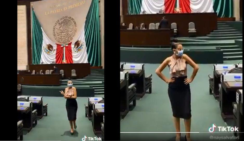 Nay Salvatori hace TikTok en la Cámara de Diputados y la destrozan en redes (VIDEO)