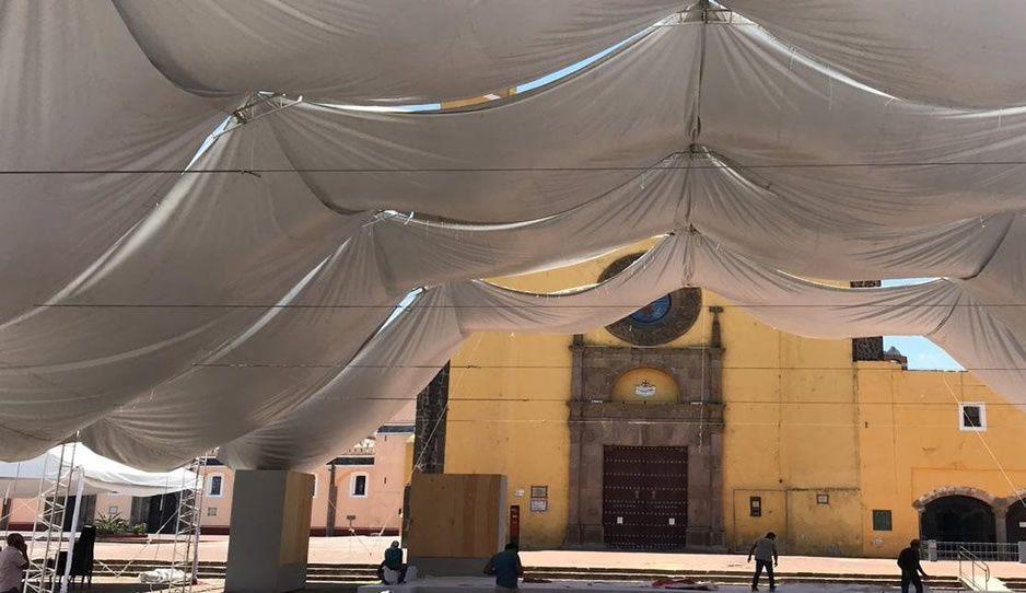¿No que sólo 50 personas? Así se prepara San Pedro Cholula para recibir a AMLO (FOTOS)