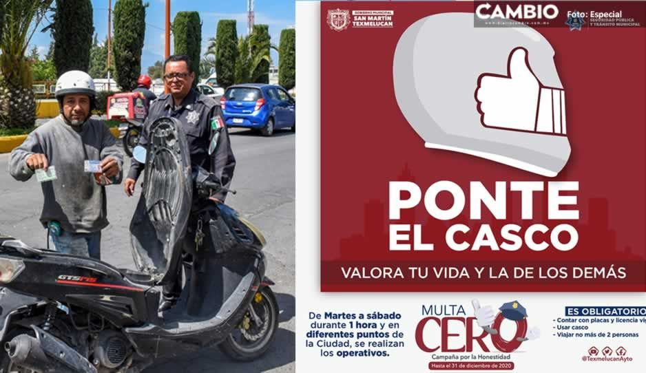 Tránsito Municipal de Texmelucan continúa con operativos de Casco Seguro y programa Multa Cero