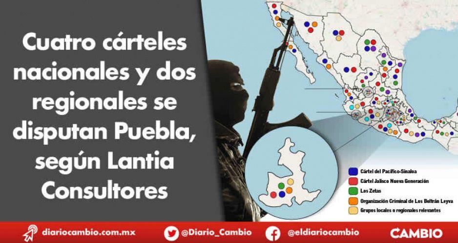 Cuatro cárteles nacionales y dos regionales se disputan Puebla, según Lantia Consultores