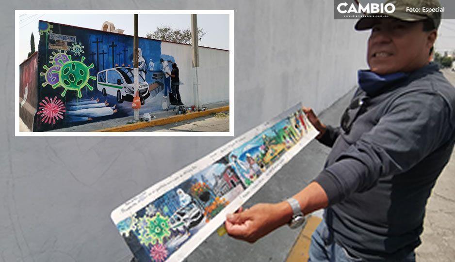 VIDEO: Artista de Atlixco crea mural para inmortalizar la pandemia de Covid y hacer homenaje a los médicos