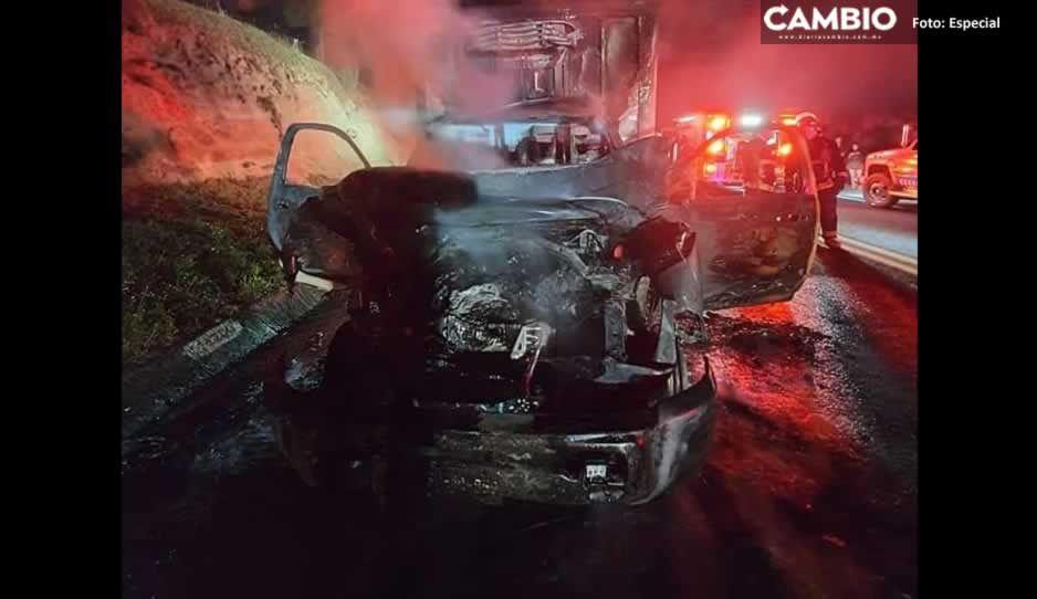 Conductor muere calcinado tras chocar con tractocamión en la Amozoc-Perote (VIDEO)