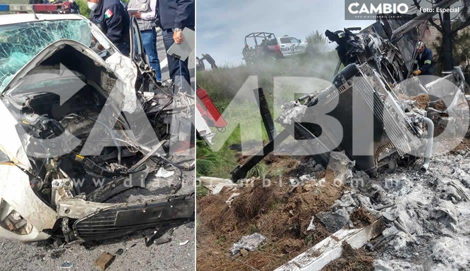 Muere policía en aparatoso choque contra camión en Oriental (FOTOS)
