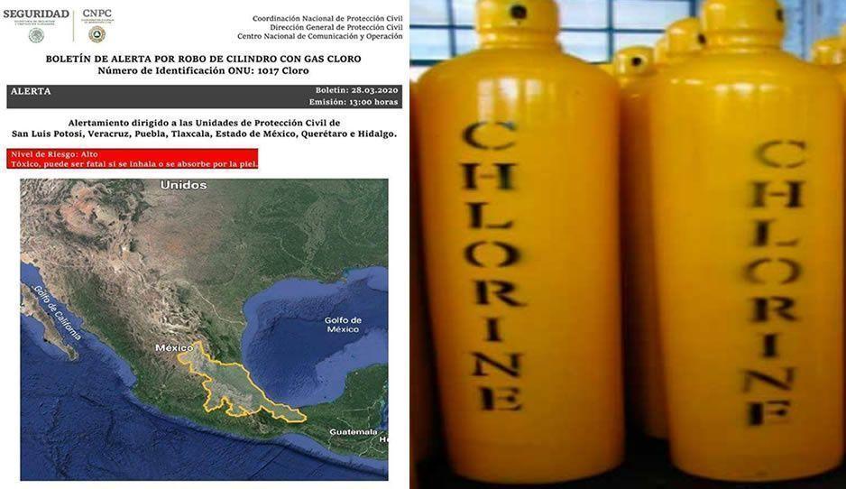 Autoridades de Hidalgo buscan en Puebla tres cilindros de gas cloro robados, se utilizan para purificar agua