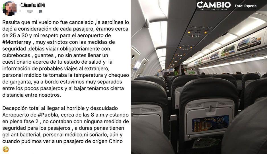 Aeropuerto de Puebla no tiene ninguna medida sanitaria ante pandemia: denuncia pasajera (VIDEO)