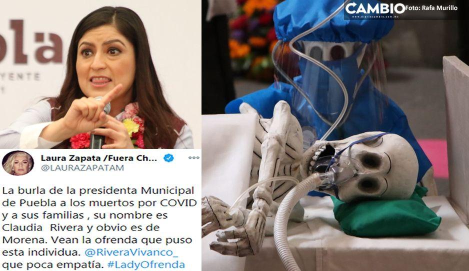 Claudia se burla de muertos por coronavirus en ofrenda, acusan poblanos (FOTOS)