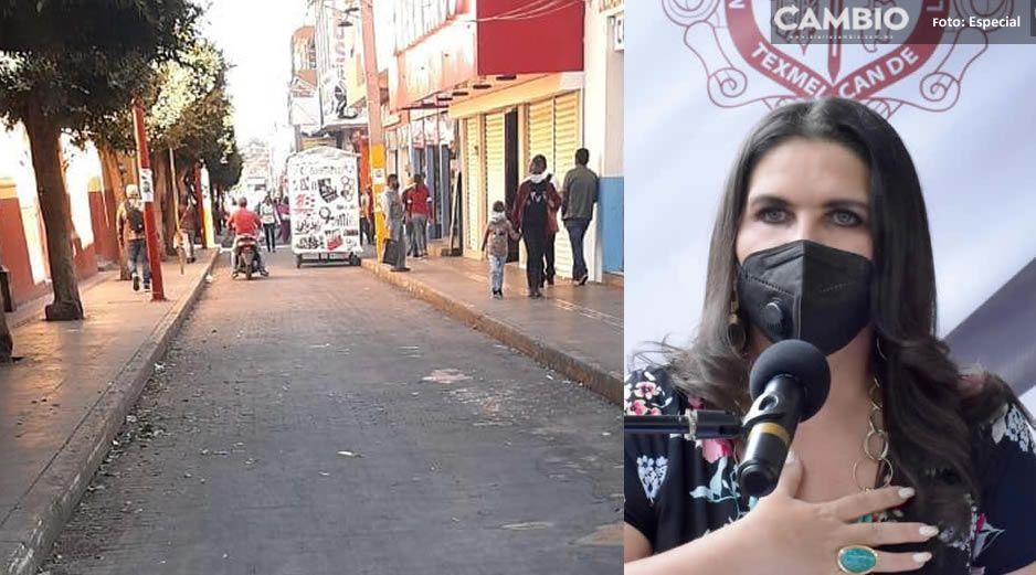 Norma Layón retira ambulantes de calle Miguel Hidalgo y carril de San Miguel