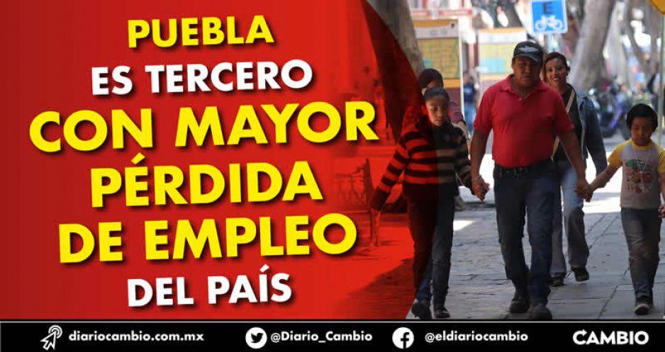 Puebla es tercero con mayor pérdida de empleo del país