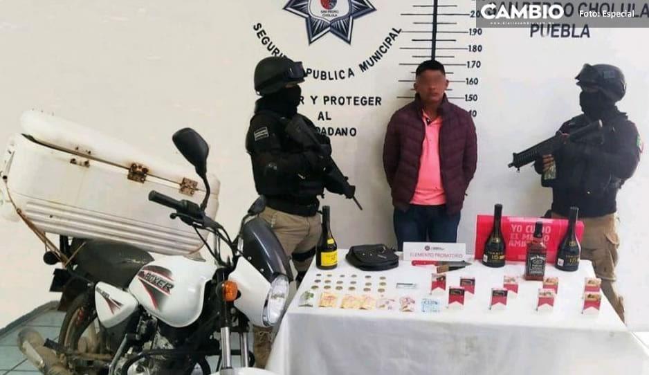 Cae en San Pedro Cholula presunto asaltante morelense de tiendas de conveniencia gracias a reacción inmediata de policía municipal