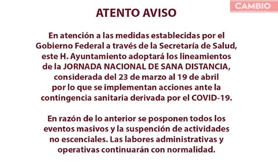 Frente a Covid-19, Ayuntamiento de Cuautlancingo toma medidas precautorias