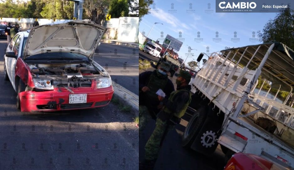 Accidente en boulevard Vicente Suárez; Auto se estampa contra camión de GN
