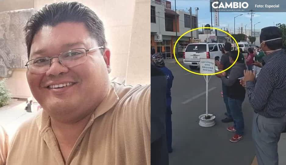Entre aplausos despiden a Yabel Varillas, trabajador del IMSS Tehuacán (VIDEO)