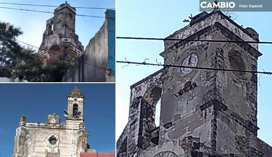 Cae reloj de ex convento de San Francisco y atlixquenses enfurecen