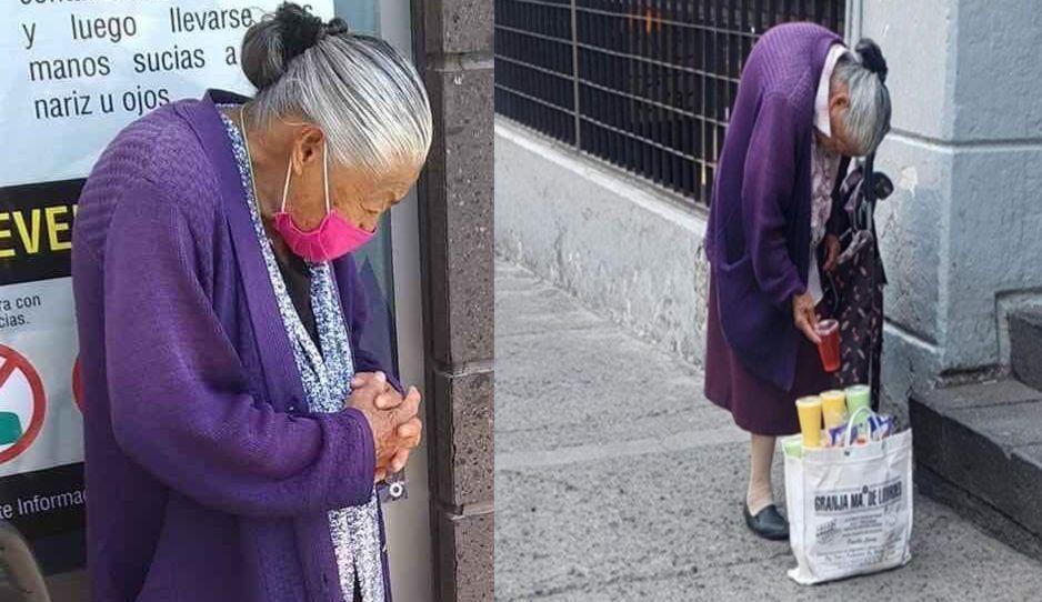Abuelita Juanita sale a la calle a vender gelatinas, ya no aguantó más el hambre