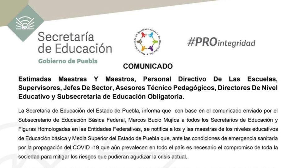 SEP cancela consejos técnicos en Puebla