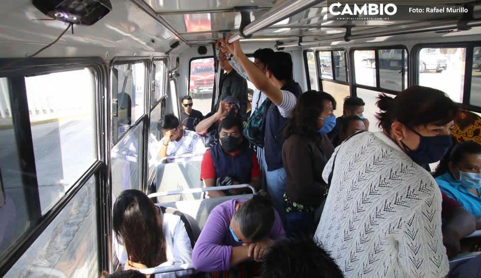 ¡Sin miedo al covid! Choferes de transporte público bajan la guardia, no usan gel antibacterial, cubrebocas, ni respetan el mínimo de pasaje