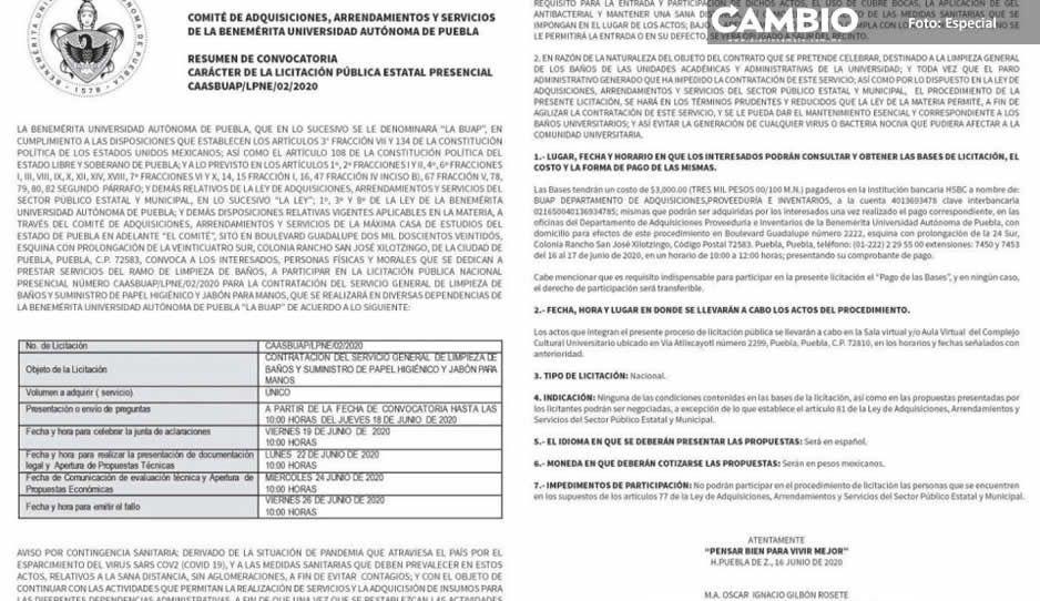 BUAP prepara Nueva Normalidad: busca proveedor de limpieza; vende informes en 3 mil pesos