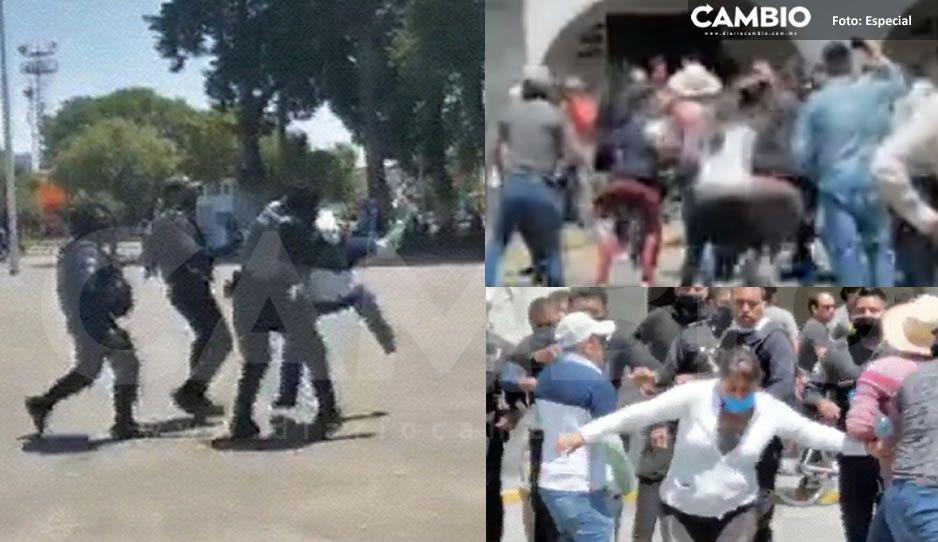 A golpes corren a antorchistas quejosos de Huejotzingo, hasta una llave les aplicaron (VIDEOS)