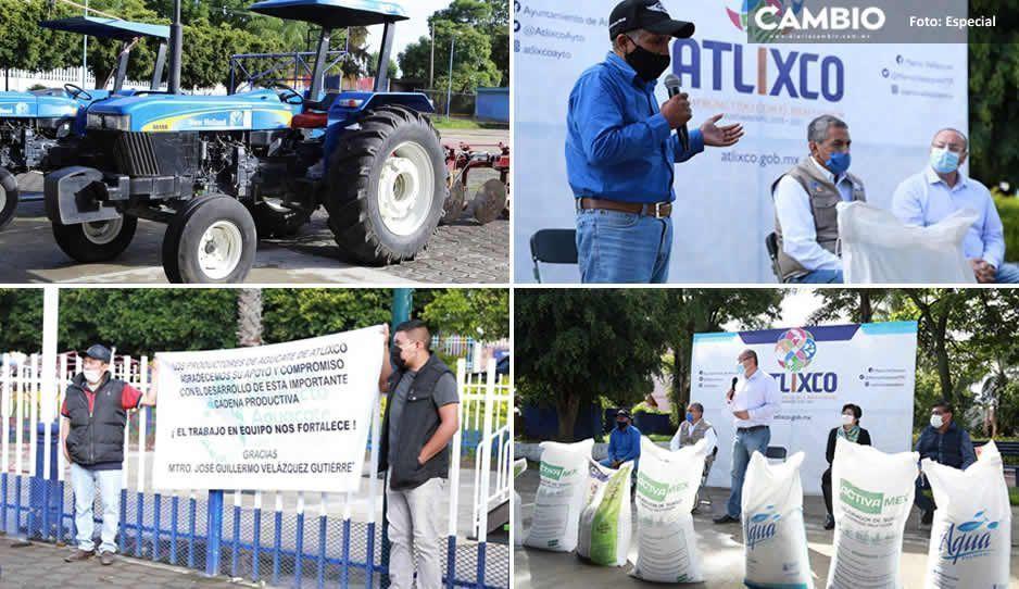 Entrega Memo Velázquez apoyos al campo en Atlixco
