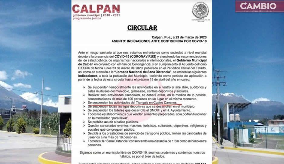 Pobladores de Calpan exigen la suspensión del tianguis de cuatro caminos
