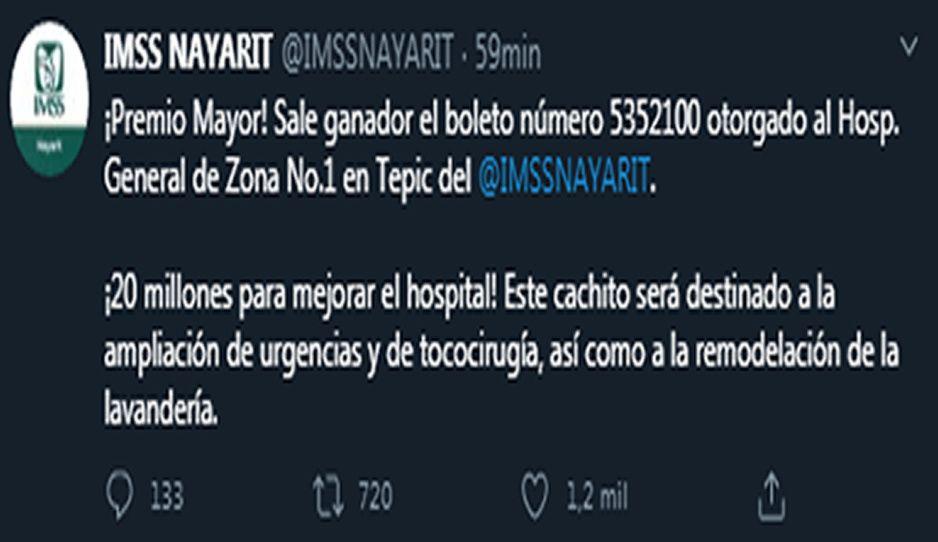 ¿Casualidad? IMSS de Nayarit gana 20 millones de pesos en sorteo del avión presidencial