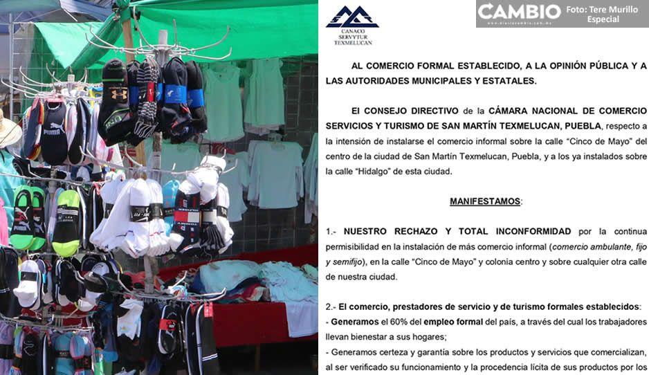 CANACO se pronuncia en contra la instalación de ambulantes en el centro de Texmelucan