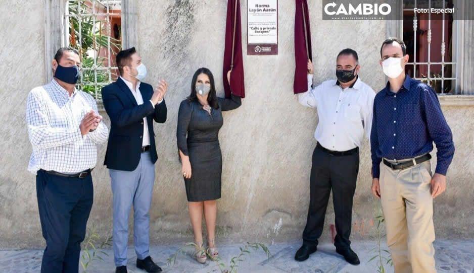 Norma Layón entrega dos nuevas calles  a las familias de San Rafael Tlanalapan