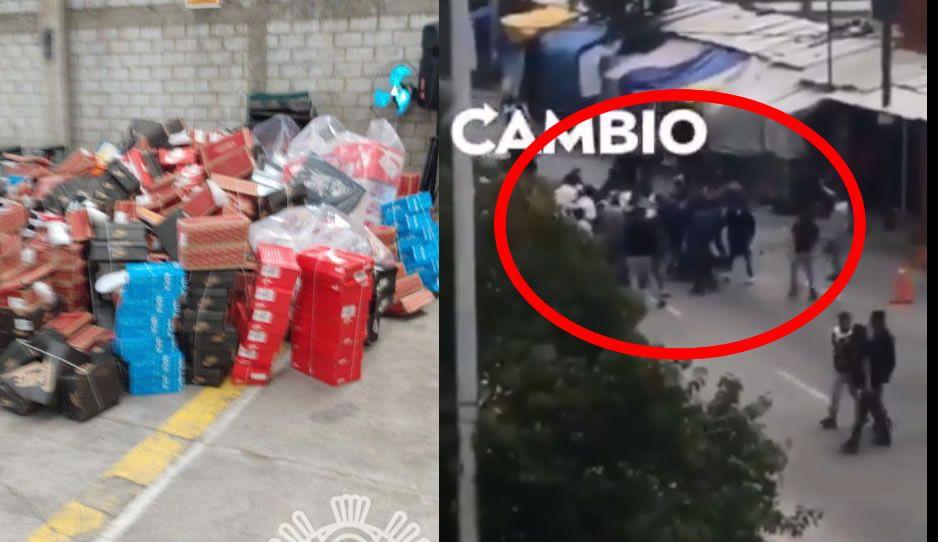 Batalla campal en La Cuchilla deja decomiso de cuatro toneladas de piratería y tres heridos (VIDEO)