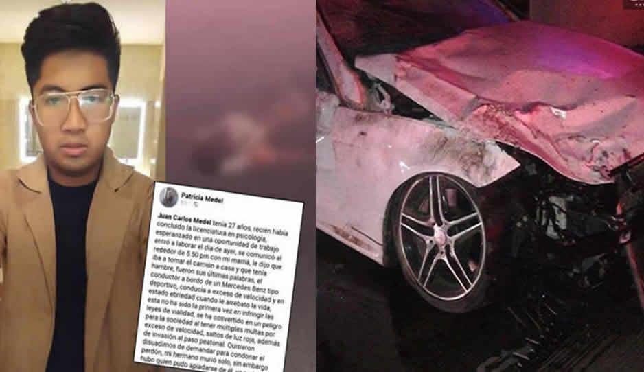 Familia del briago del Mercedes que mató a Juan Carlos busca usar sus influencias y comprar el perdón