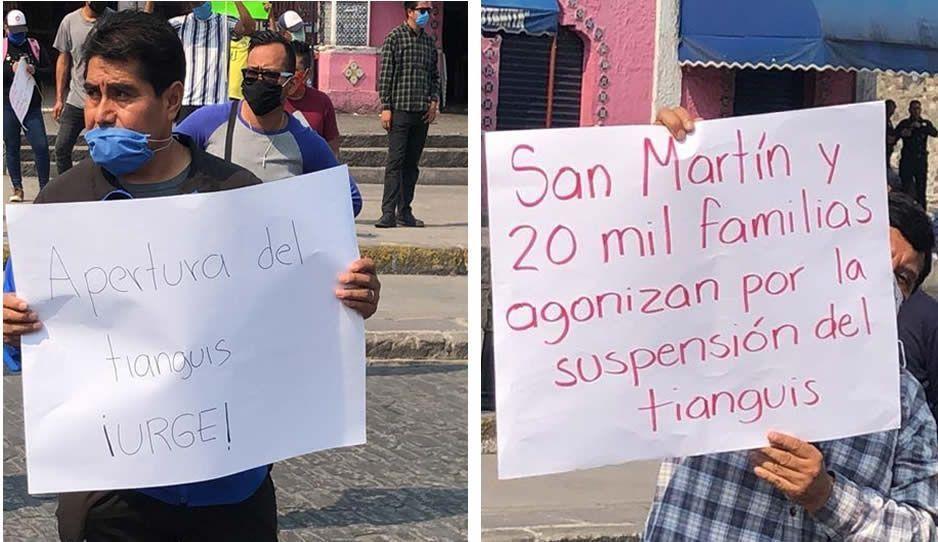 ¡El Covid les vale! Comerciantes piden el regreso de tianguis en Texmelucan