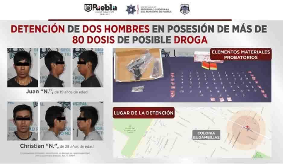 Capturan a dos narcomenudistas con 80 dosis de droga en Bugambilias