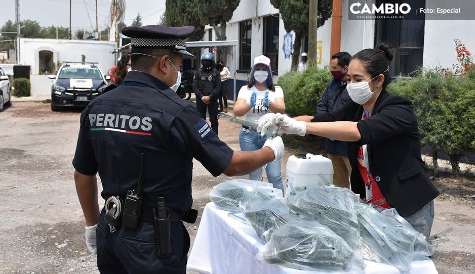 Elementos de Seguridad Pública de Texmelucan reciben equipos de protección para enfrentar al Covid