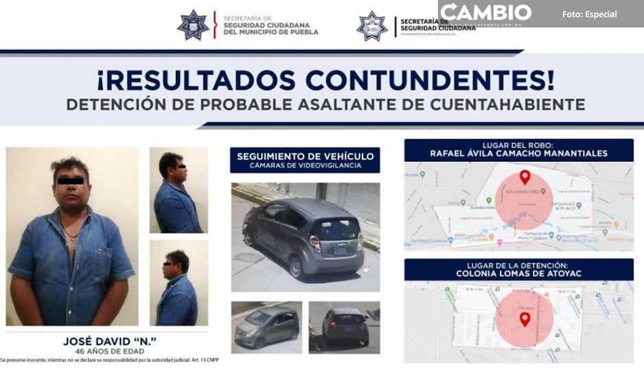 Detienen policías de Puebla y San Pedro  a presunto asaltante de cuentahabiente