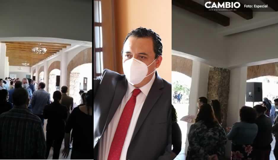 En plena contingencia, celebran cumpleaños de alcalde de Tehuacán en edificio Morelos