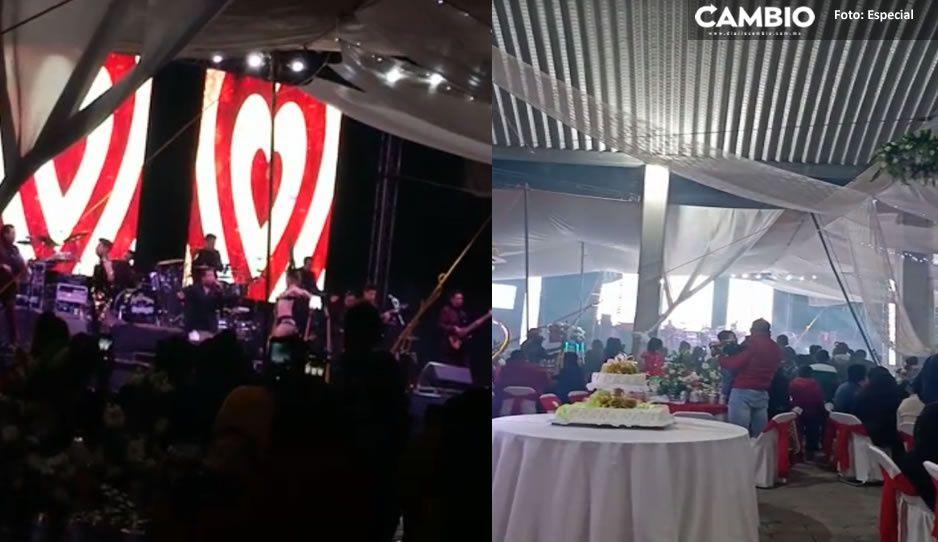 ¡No entienden! Covididotas de Acatzingo festejan bodorrio con más de mil personas (VIDEO)